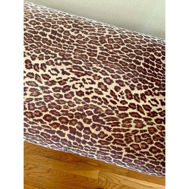 Black 1990s Vintage Leopard Velvet Black Iron Bench For Sale - Image 8 of 13
