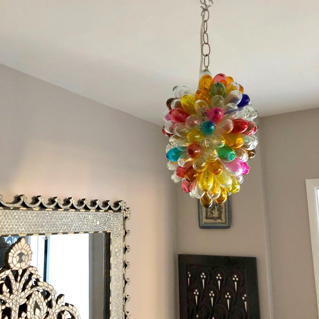 Contemporary Bright Colors of Light Fixture of Recycled Hand Blown Glass For Sale - Image 3 of 11