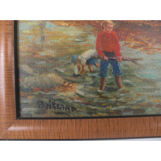 Country Boys Playing in the Woods Framed Oil on Canvas For Sale - Image 3 of 6
