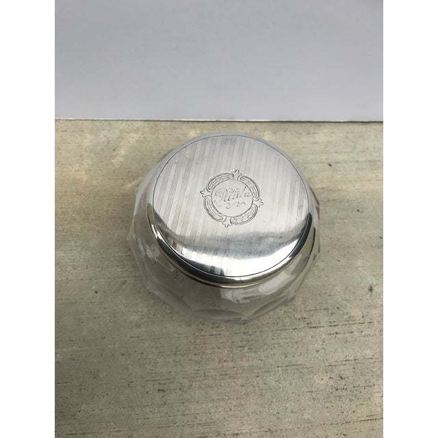 Antique Collectible Crystal Powder Jar /Candy Jar /Container With Sterling Lid Top For Sale - Image 12 of 13