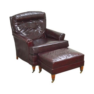 Vintage High Quality Oxblood Tufted Leather Club Chair W/ Ottoman For Sale