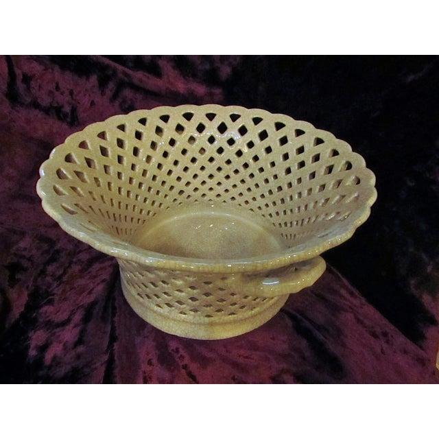 Cottage Lattice Ceramic Pottery Bowl For Sale - Image 3 of 5