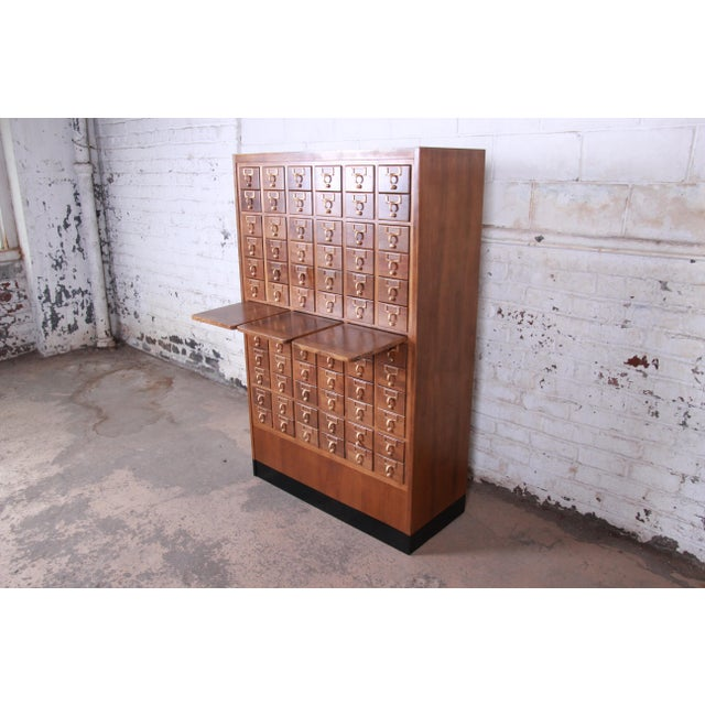 Brass Mid-Century 72-Drawer Library Card Catalog For Sale - Image 7 of 13