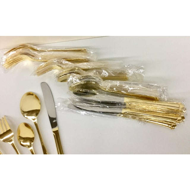 Metal Vintage Gold Tone Flatware by Farberware - Serving for 8 For Sale - Image 7 of 11