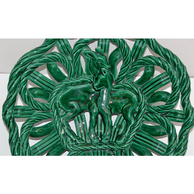 Vallauris Vallauris France Glazed Woven Ceramic Basket Emerald Green Bambi 1955, Pottery For Sale - Image 4 of 13