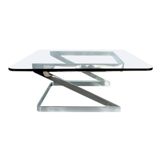 Gary Gutterman Polished Steel Cantilevered Coffee Table For Sale