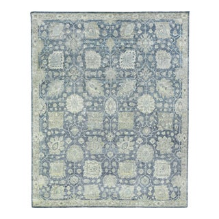 Exquisite Rugs Evie Hand Knotted Wool Blue - 6'x9' For Sale