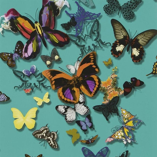 Christian Lacroix Christian Lacroix Butterfly Parade Lagon Wallpaper For Sale - Image 4 of 4