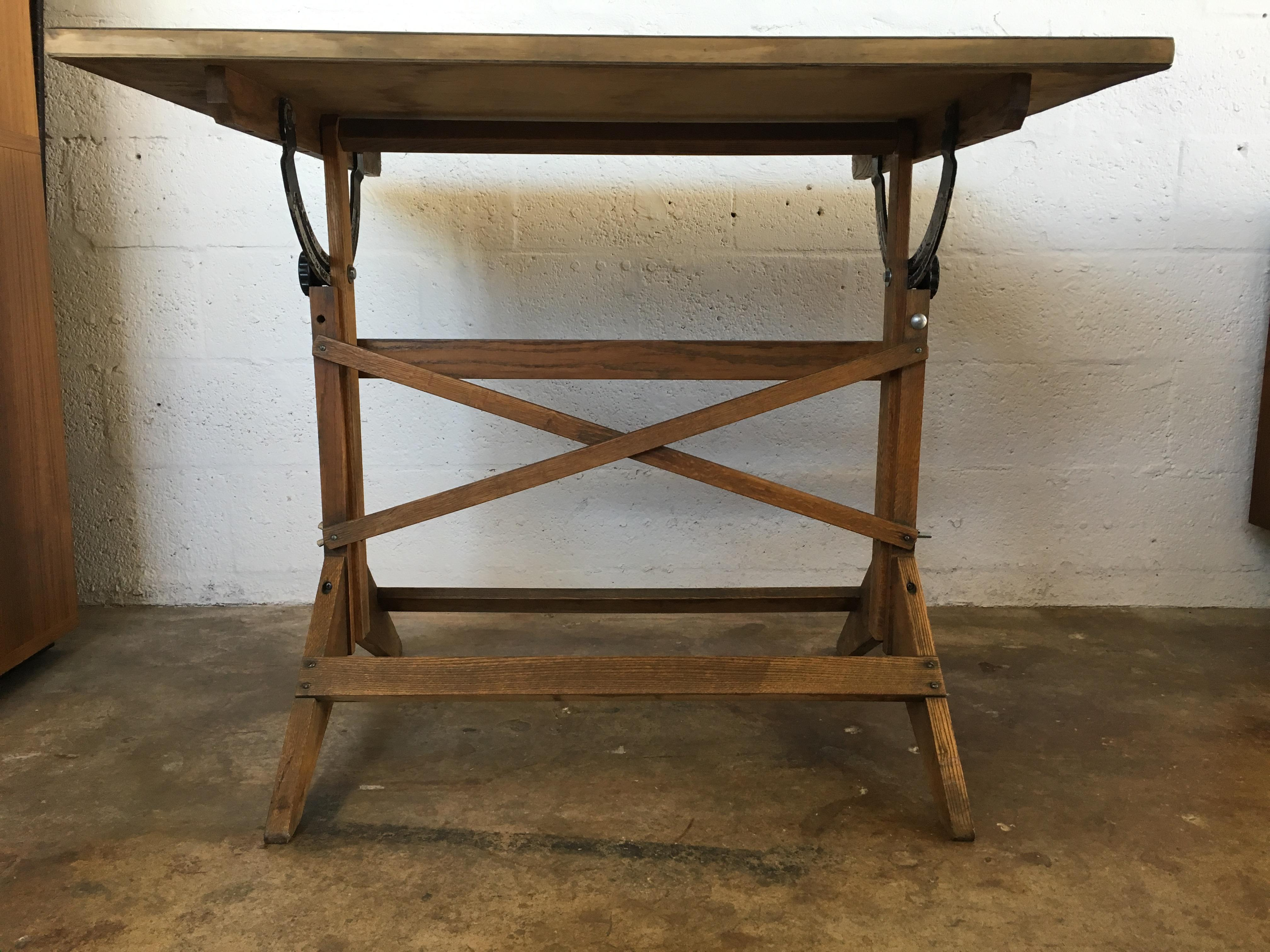Vintage Adjustable Industrial Architect Drafting Table   Image 3 Of 10
