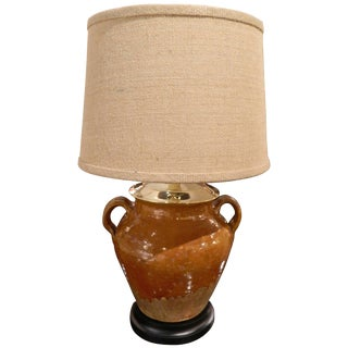 Provence Two Handle Oil Jar Adapted as a Lamp, Early 20th Century For Sale