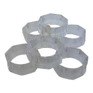 West German Crystal Hexagon Napkin Holders- Set of 6