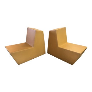 Modern Angular Rubberized Foam Chairs - a Pair
