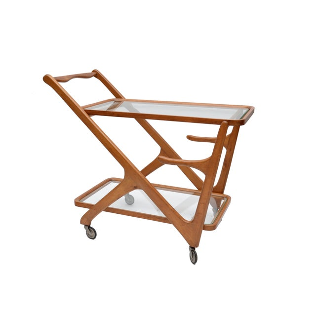 Italian Cesare Lacca Wooden Bar Cart for Cassina, Italy For Sale - Image 3 of 8