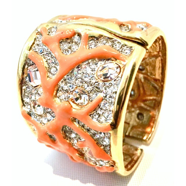 Early 21st Century 21st Century Kenneth Lane Gold & Faux Coral Swarovski Crystal Bracelet For Sale - Image 5 of 11