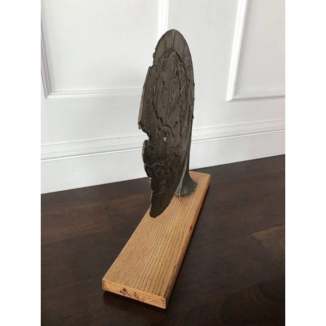 Vintage Mid Century Modern Bronze Metal and Wood Abstract Sculpture For Sale - Image 6 of 12