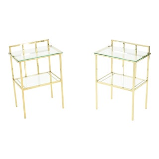 French Brass 2-Tier Glass End Tables - a Pair For Sale