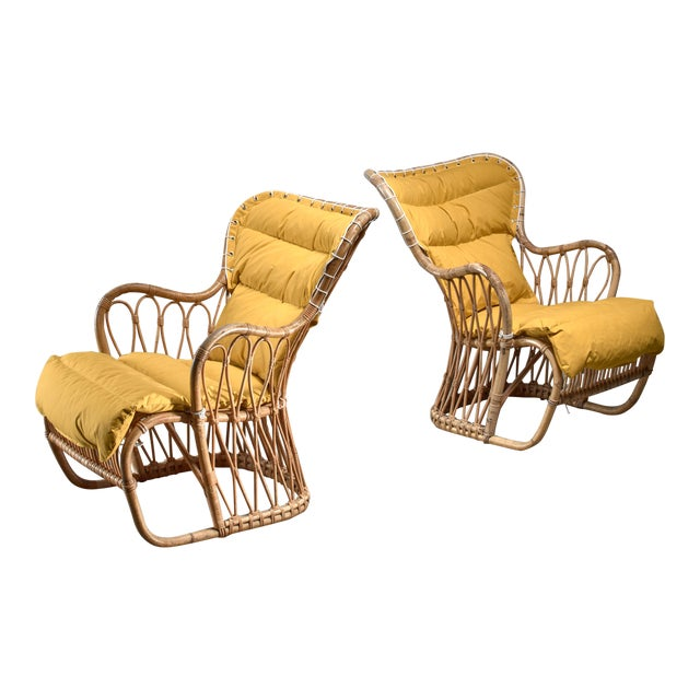 Tove & Edvard Kindt-Larsen Pair of Bamboo Chairs, 1940s For Sale