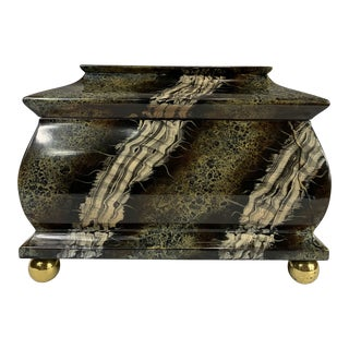 """Vintage Hand Painted """"Marble"""" Wooden Box From Caledonian of Winnetka For Sale"""