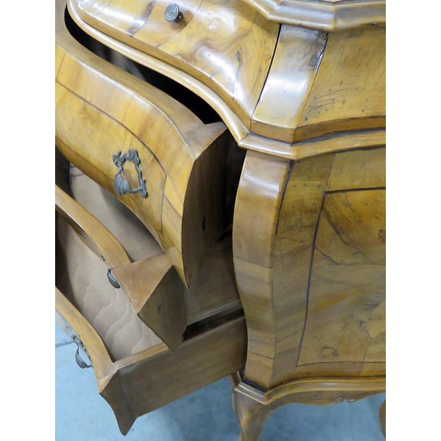 Brown Italian Louis XV Style Bombe Commode For Sale - Image 8 of 13