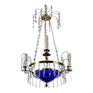 Swedish Crystal and Cobalt Blue Glass Three-Light Chandelier For Sale