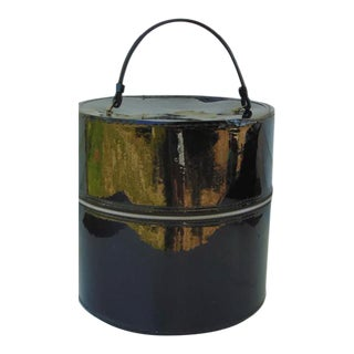 Hat Wig Box Vintage Round Suitcase Black Patent