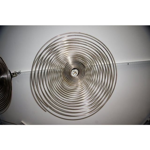 Spiral Spring Chrome Industrial Style Chandelier by Angelo Mangiarotti For Sale - Image 11 of 13
