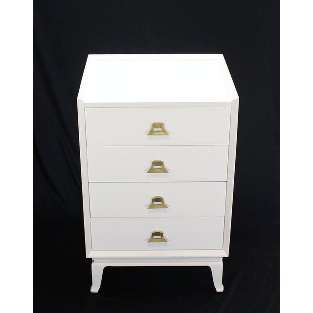 Gold Mid-Century Modern White Lacquer Brass Pulls High Chest Stands - a Pair For Sale - Image 8 of 10