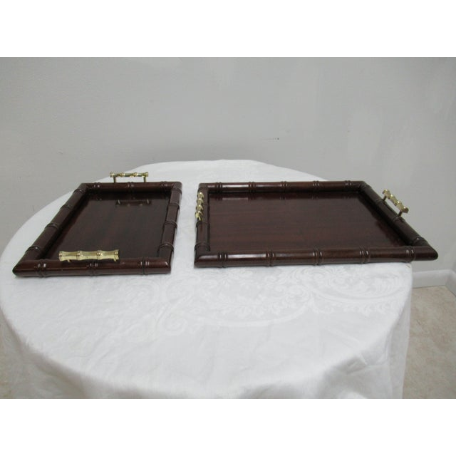 Brown 1990s Vintage Bombay Company Faux Bamboo Stacking Trays - A Pair For Sale - Image 8 of 12