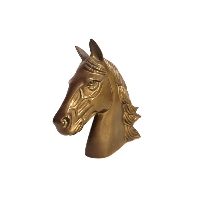 Large Vintage Brass Horse Bust | Stallion Head Statue | Equestrian Décor | Western Chic Horse Sculpture | Equine Home Accent For Sale