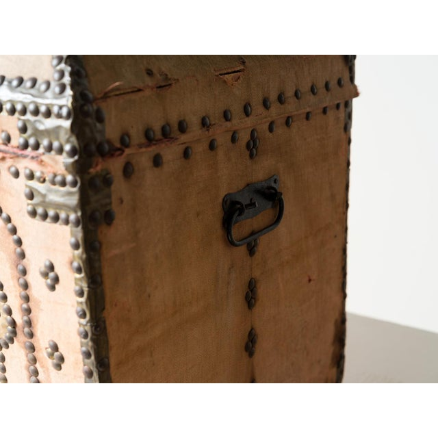 Mediterranean 19th Century Spanish Upholstered Trunk For Sale - Image 3 of 6