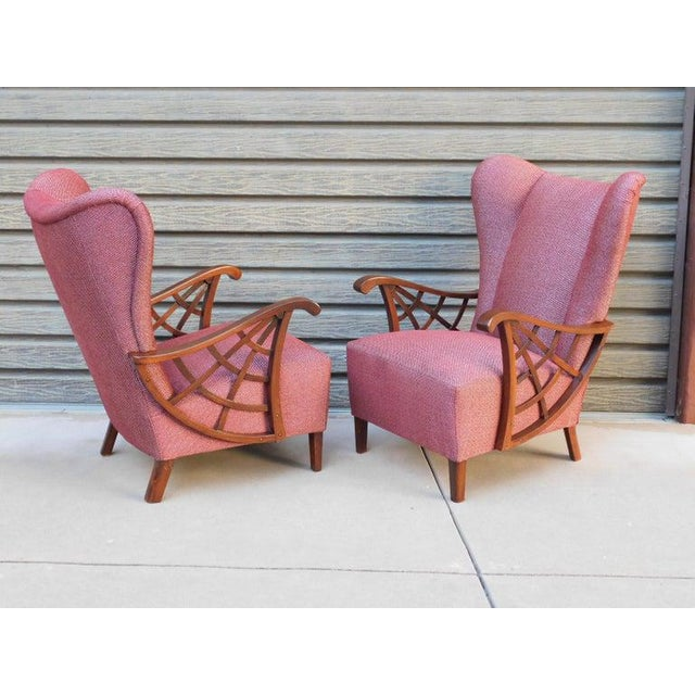 Red 1940s Vintage Swedish Modernist Winged Back Spider Web Armchairs- a Pair For Sale - Image 8 of 13