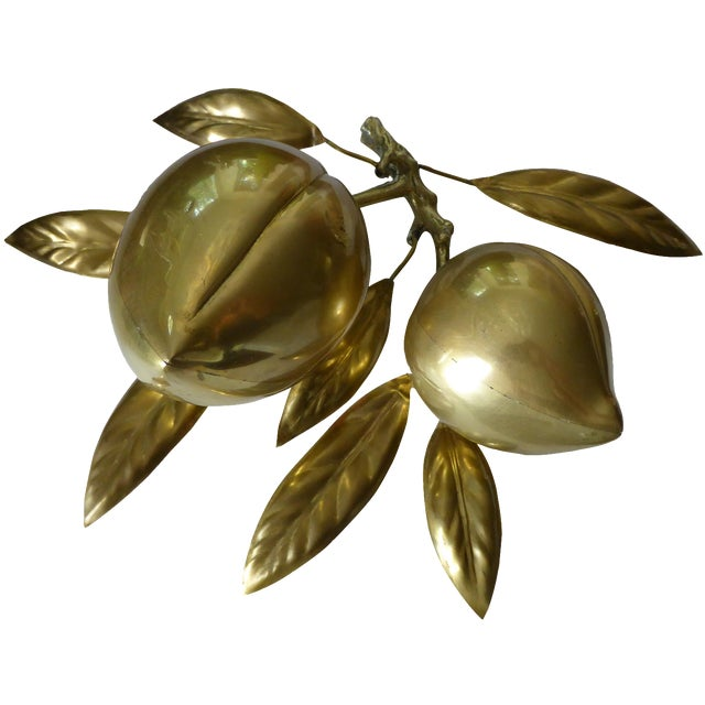 Large Mid Century Brass Fruit Table Sculpture - Image 1 of 6