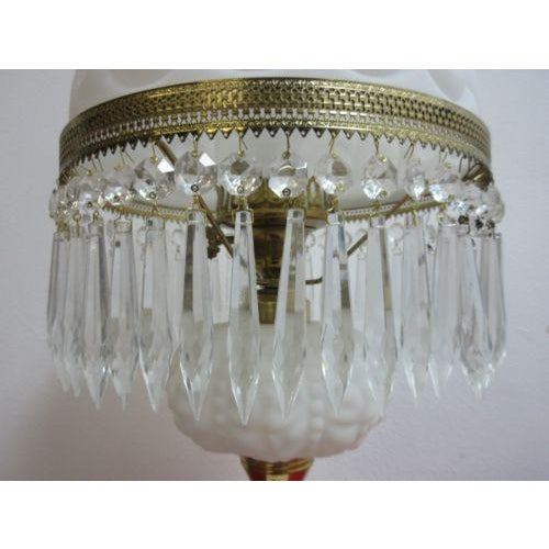 Antique Art Deco Milk Glass Hurricane Table Lamp - Image 4 of 7