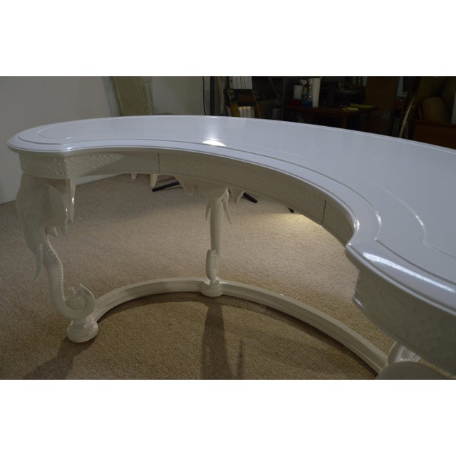 Gampel-Stoll Inc. Mid-Century Hollywood Regency Fretwork Kidney Elephant Desk For Sale - Image 5 of 7