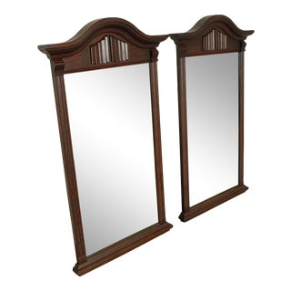 Ethan Allen Royal Charter Oak Vintage Jacobean Style Wall Mirrors - a Pair For Sale