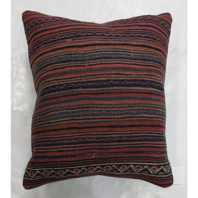 Mid-Century Modern Large Striped Kilim Pillow For Sale - Image 3 of 3