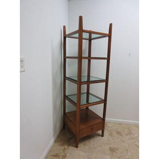 1980s Mid Century Style Walnut Etagere Bookshelf Preview