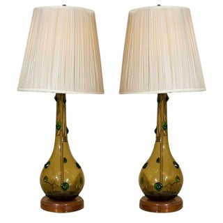 Pair of Mid-Century Handblown Glass Lamps For Sale