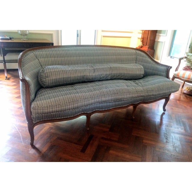 Vintage French Louis XV Style Wood Frame Sofa by Meyer Gunther Martini - Image 6 of 11