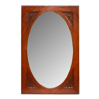 Italian Art Nouveau Carved Wood Mirror For Sale