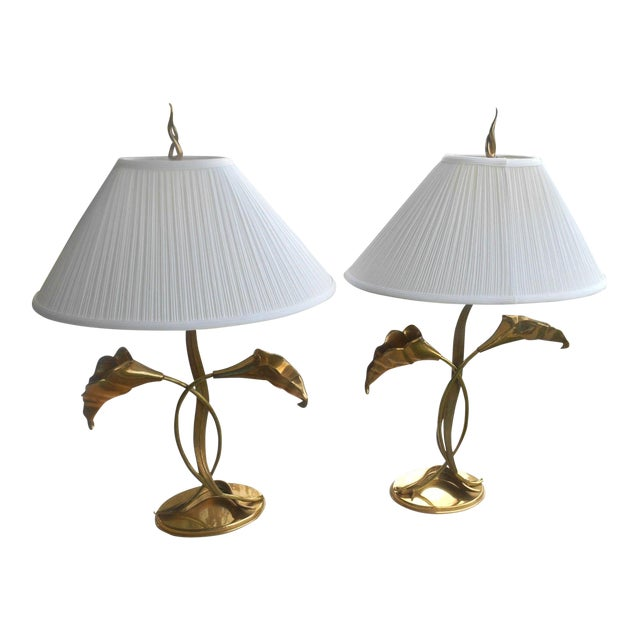 Vintage 1995 Chapman Solid Brass Calla Lily Table Lamps A Pair