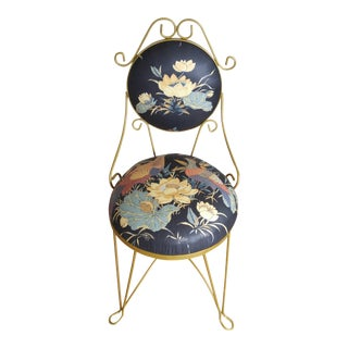 Gilded Art Nouveau Vanity Chair With Round Seat & Back