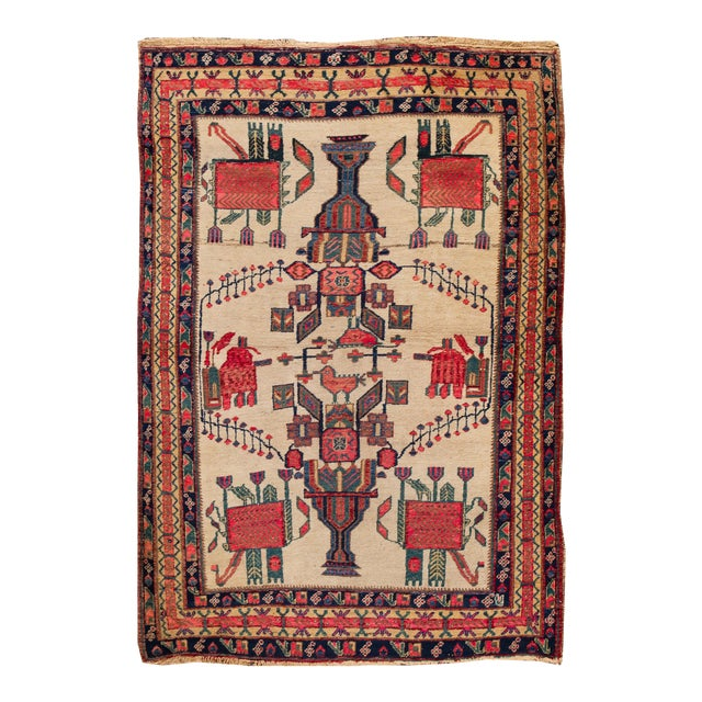 Mid-20th Century Vintage Persian Rug 4' 2'' X 6' 3''. For Sale