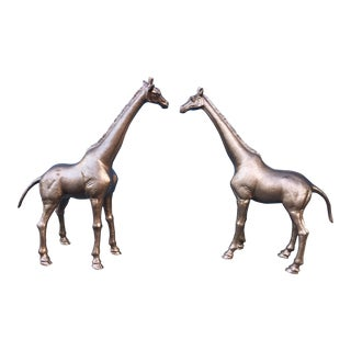 Aged Bronze Finish Giraffes - A Pair