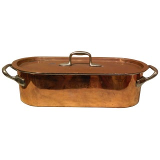 French Copper Fish Poacher With Handles and Lid, 19th Century For Sale
