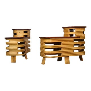 Vintage Paul Frankl Bamboo Step End Tables- A Pair For Sale