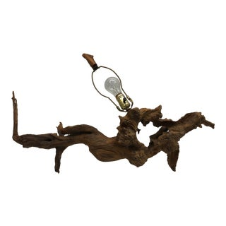 Vintage Handmade Driftwood Accent Lamp For Sale