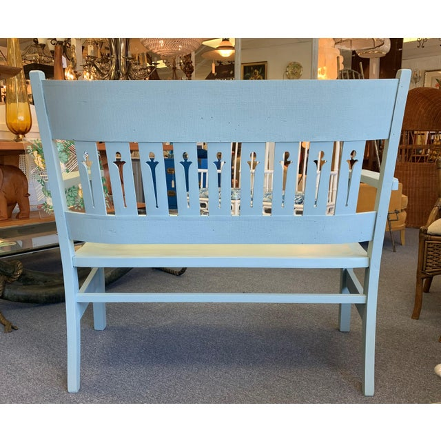 1940s Vintage Farmhouse Chic Solid Oak Bench For Sale - Image 4 of 13