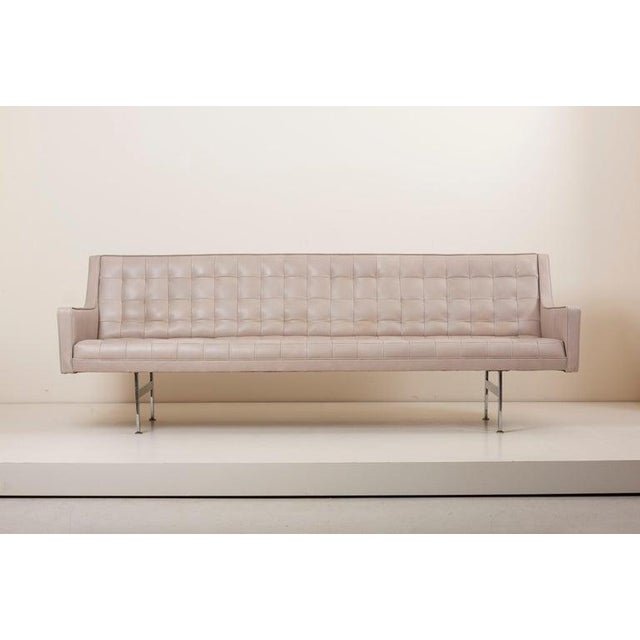 Milo Baughman for Thayer Coggin Tufted Sofa in Grey Leather by Milo Baughman for Thayer Coggin For Sale - Image 4 of 13