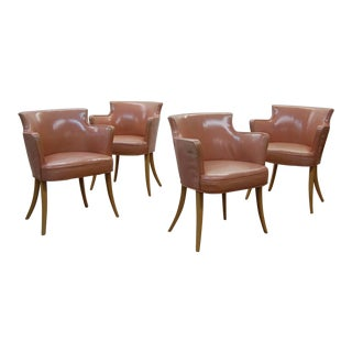 Early Dunbar Dining Chairs in Leather - Set of 4 For Sale